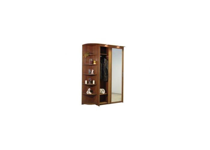 Шкаф-купе 2х дверный с 1 зеркальной дверью и левым угловым т.